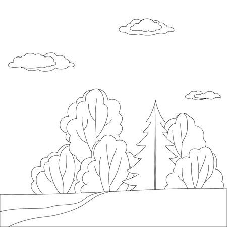 bucolical: Vector, landscape: forest with trees and sky with clouds, contours