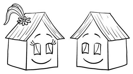 Vector, toy small houses - friends, girl and boy, contours Vector
