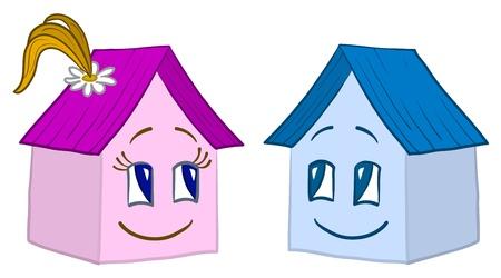 datcha: Vecteur, maisons jouets petits - amis, fille et gar�on