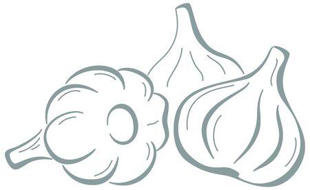 Vector, vegetable: spice, three garlics, monochrome symbolical pictogram