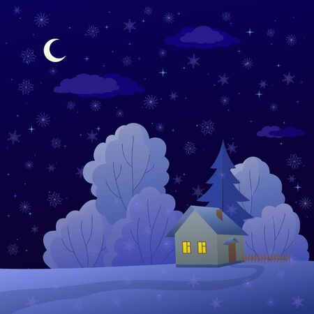 Vector cartoon, winter christmas landscape: country house in night forest Vector