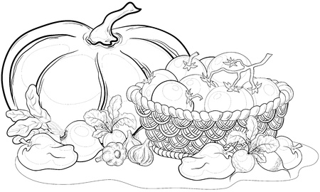 Vector, still life: varias verduras y cesta Jacana, contornos monocromos