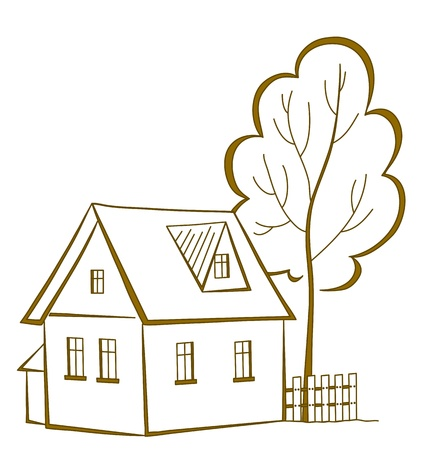 Vector cartoon, landscape: country house with a tree, monochrome symbolical pictogram  イラスト・ベクター素材
