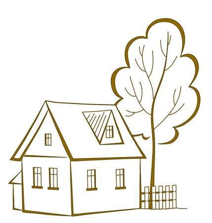 datcha: Dessin vectoriel, paysage : maison de campagne avec un arbre, pictogramme symbolique monochrome Illustration
