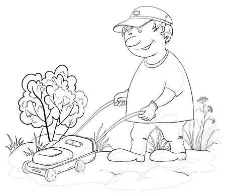 mows: Vector, lawn mower man work, mows a grass in the garden, contours Illustration