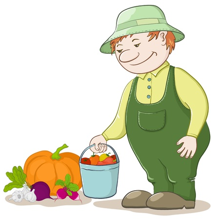 datcha: Vecteur, jardinier hommes avec une r�colte de l�gumes m�rs Illustration