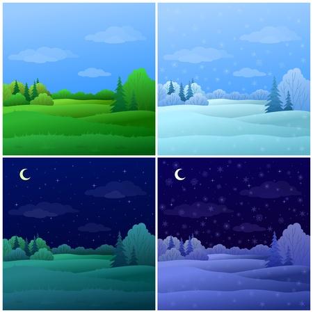 coniferous forest: Vector, establecer los paisajes forestales: verano e invierno, d�a y noche Vectores
