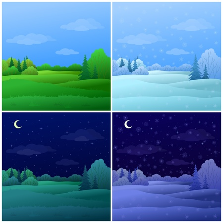 forest cartoon: Vector, set forest landscapes: summer and winter, day and night