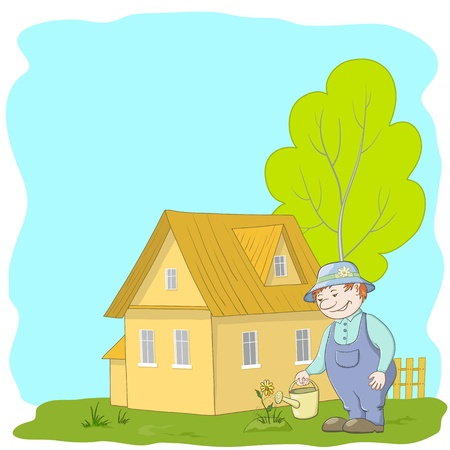 dacha: Vector, man gardener waters a bed with a flower outside the house Illustration