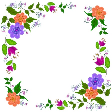 Abstract vector background: symbolical flowers, isolated on white