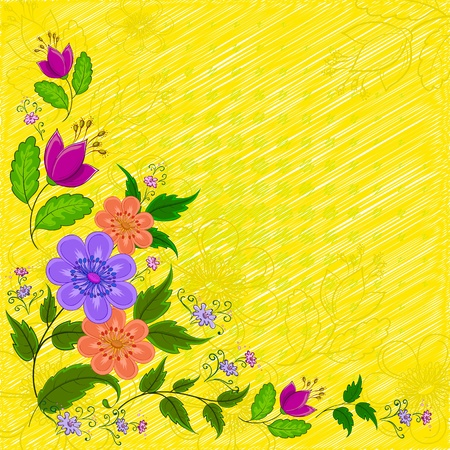 Abstract vector background: various symbolical flowers on yellow
