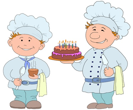 Vector, two cooks with sweet cake and cup of drink Illustration