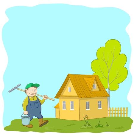 work workman: vector, man gardener gardener with a rake and a bucket near the house