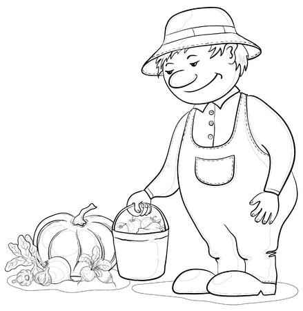 Men gardener with a crop of ripe vegetables, contours Vector