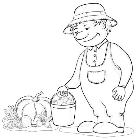 Men gardener with a crop of ripe vegetables, contours Stock Vector - 10133073