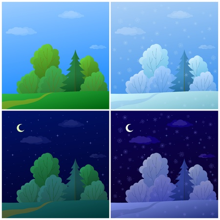 Set of forest landscapes: summer and winter, day and night Vector