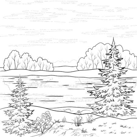 coniferous forest: Paisaje: bosque, r�o y un cielo con nubes, contorno