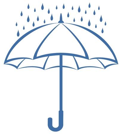 lluvia paraguas: Pictograma simbólica: azul gotas de lluvia y paraguas sobre fondo blanco