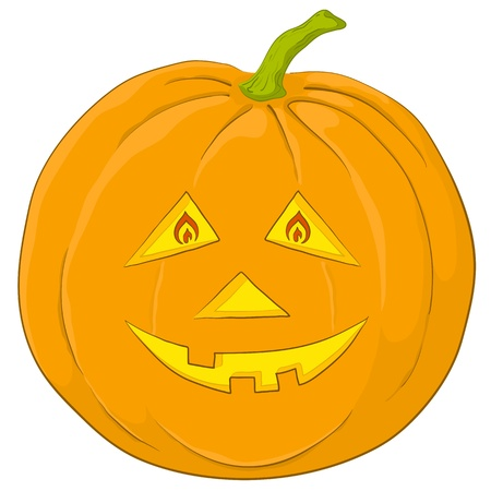 cruel: Vector, symbol of a holiday of Halloween: a pumpkin Jack O Lantern, isolated on white