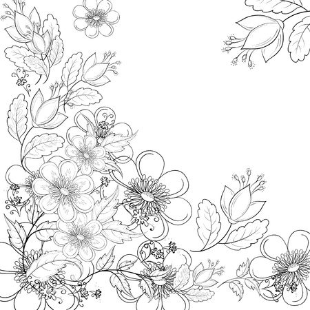 Vector, abstract background with a symbolical flowers, monochrome contours  イラスト・ベクター素材