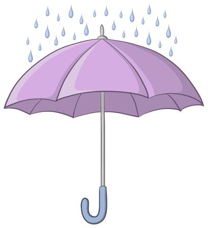 Vector, lilac umbrella and blue rain drops on white background  イラスト・ベクター素材