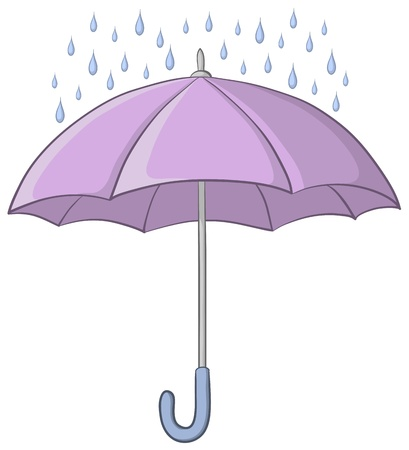 guarda sol: Vector, lilac umbrella and blue rain drops on white background Ilustra��o
