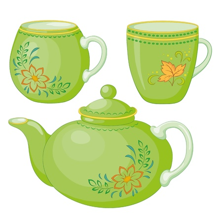 Vector, green china teapot and cups with a pattern of flowers and leaves Illustration