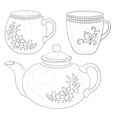 teapot: Vector, china teapot and cups with a pattern of flowers and leaves, contours