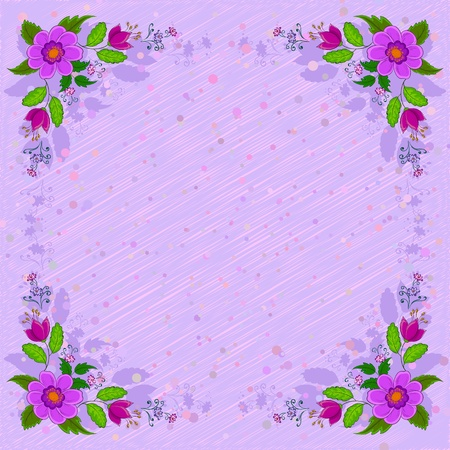 violet red: Vector, frame of flowers and silhouette and confetti on a violet background