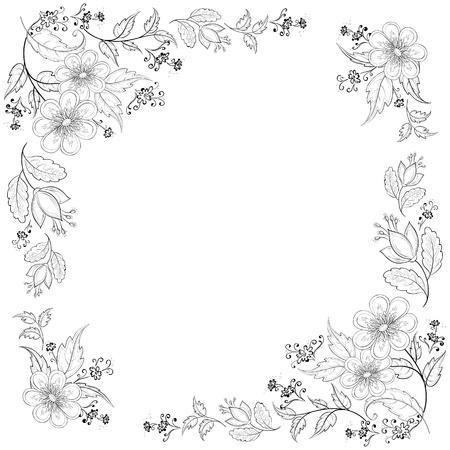 birthday flowers: Vector, abstracte achtergrond met een symbolische bloemen, zwart-wit contouren Stock Illustratie