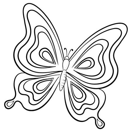 papillon dessin: Vecteur, papillons, de la main-tirage contours monochromes sur un fond blanc
