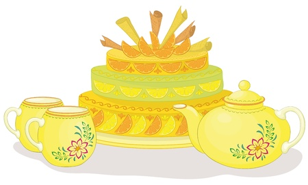 Vector, holiday cake, teapot and cups on white background Illustration