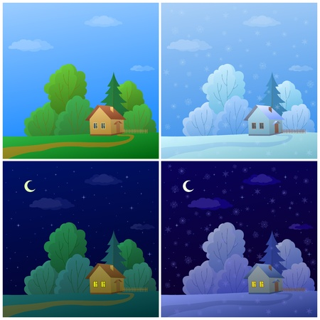 night and day: Vector cartoon, landscape: country houses in forest, summer and winter, day and night Illustration