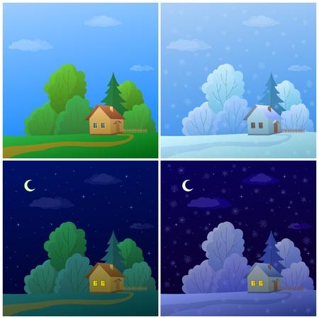 tag und nacht: Vektor-Cartoon, Landschaft: Landh�user im Wald, Sommer und Winter, Tag und Nacht