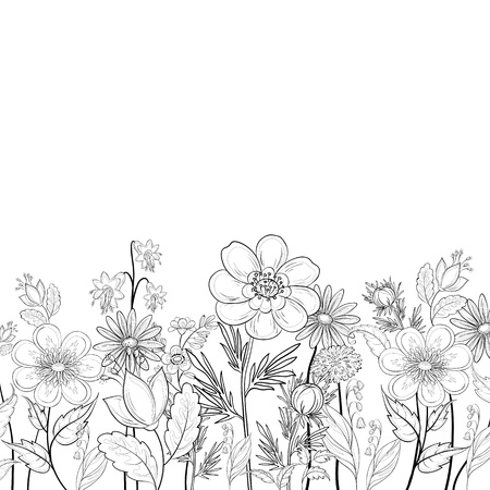 Vector, abstract background with a symbolical flowers, monochrome contours Illustration
