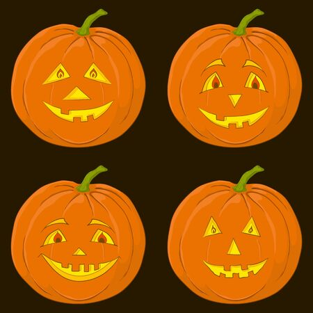 Vector, symbol of a holiday of Halloween: a pumpkin Jack O Lantern on black, set Vector