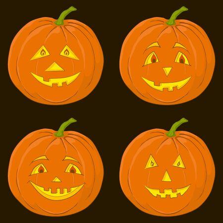 gourd: Vector, symbol of a holiday of Halloween: a pumpkin Jack O Lantern on black, set
