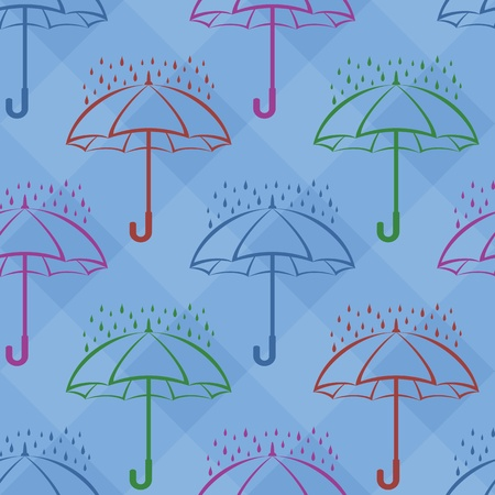 seamless background, various umbrellas and rain drops on blue squares Vector