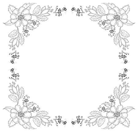 utsirad: Vector, abstrakt bakgrund med en symboliska blommor, monokrom konturer