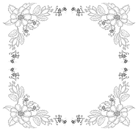 Vector, abstract background with a symbolical flowers, monochrome contours Stock Vector - 10314633