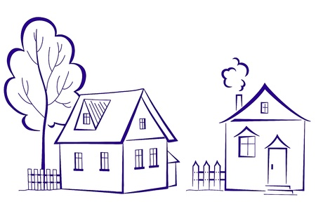 outline drawing: Cartoon, landscape: two houses with a tree, monochrome symbolical pictogram