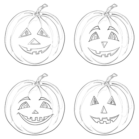 Simbolo di una festa di Halloween: un zucche Jack O Lantern, contorni monocromatici