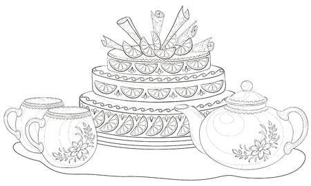 cup cakes: Vector, holiday cake, teapot and cups, monochrome contours on white background
