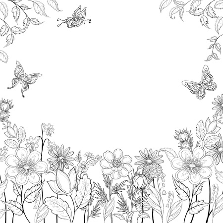 Vector, abstract background with a symbolical flowers, monochrome contours Illusztráció