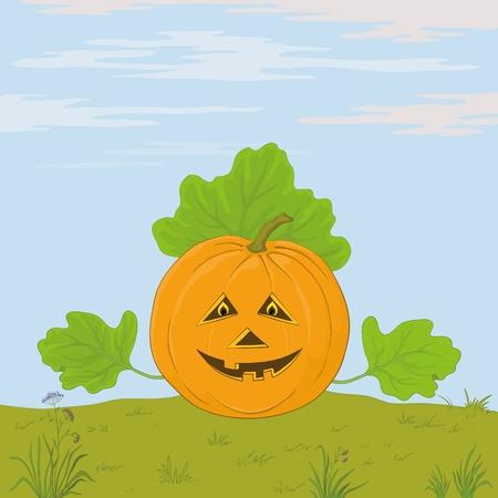 sky lantern: Vecteur, symbole d'une f�te de Halloween: une citrouille Jack O Lantern avec les mains - les feuilles contre le ciel bleu