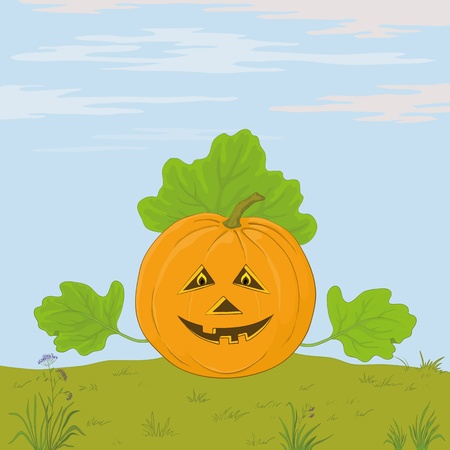 terribly: Vector, symbol of a holiday of Halloween: a pumpkin Jack O Lantern with hands - the leaves against the blue sky Illustration