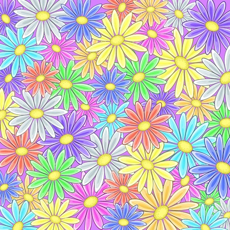 Abstract vector background with a various symbolical flowers