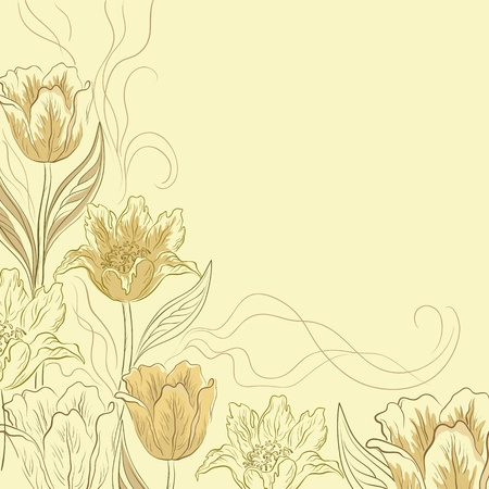 picture postcards: Vector flower light brown background, contours and silhouettes flowers tulips Illustration
