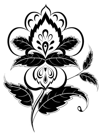 black and white line drawing: abstract symbolical flower, monochrome pictogram on white Illustration