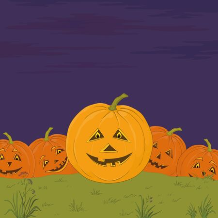 symbol of a holiday of Halloween: a pumpkins Jack O Lantern army Vector